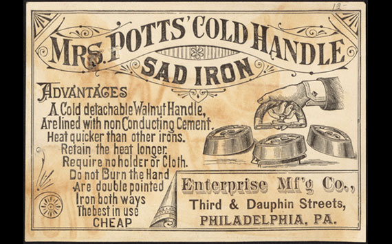 An advert for Mrs Potts Cold Handle Sad Iron from 1880
